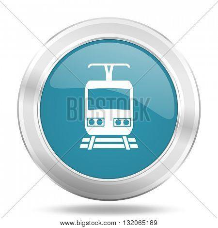 train icon, blue round metallic glossy button, web and mobile app design illustration