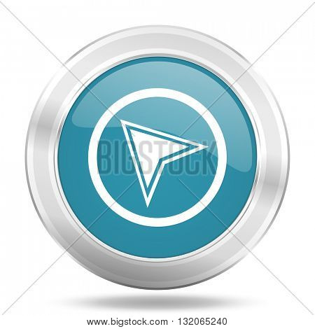 navigation icon, blue round metallic glossy button, web and mobile app design illustration