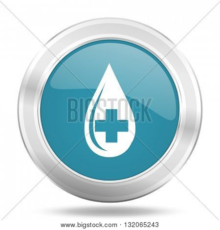 blood icon, blue round metallic glossy button, web and mobile app design illustration