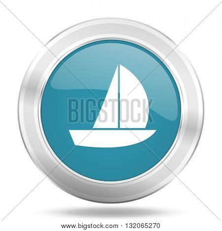 yacht icon, blue round metallic glossy button, web and mobile app design illustration