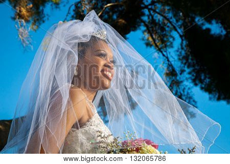 A stunning African American bride looks off to the distance with her veil over her face and blowing in the wind. The colors are vibrant and she is gorgeous.