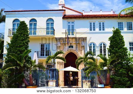 May 15, 2016 in Miami, FL:  Villa Vizcaya with its historic European architecture built in 1923 and is a US National Historic Landmark which is now the Vizcaya Museum and Gardens where tourists can visit during visitor hours taken at Coconut Grove in Miam