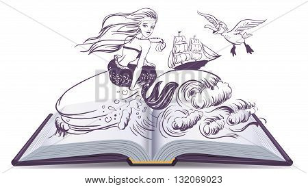 Open book Tale of Mermaid. Reading develops imagination. Illustration in vector format poster