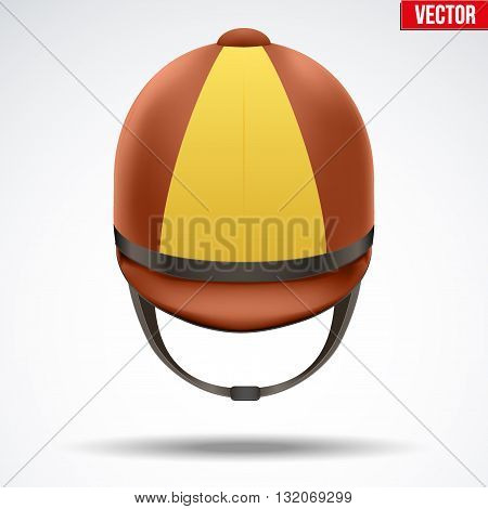 Classic Brown and Yellow Jockey helmet for horse riding athlete. Front view of Sport equipment. Vector Illustration isolated on a white background.