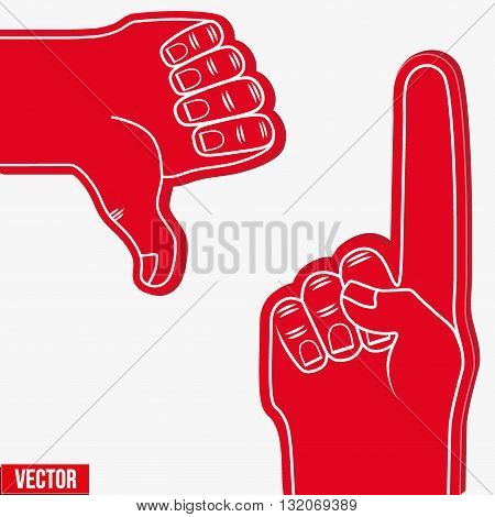 Set of Sports Red Fans holding Foam Fingers. Up and dislike. Vector Illustration Isolated on white background.
