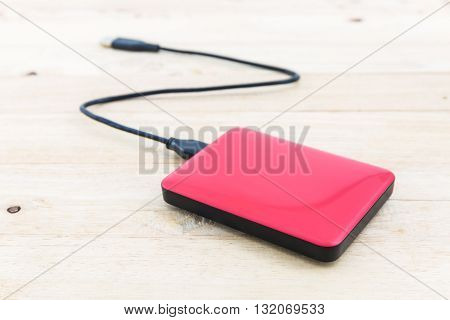 External hard drive for backup on wood background. poster