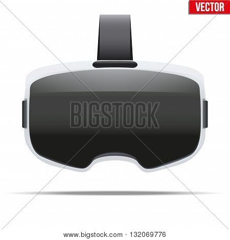 Original stereoscopic 3d vr headset with visualisation on surface. White model. Front view. Vector illustration Isolated on white background.
