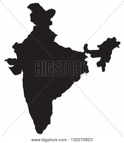 Map India country geographic area abstract silhouette