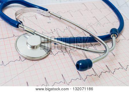 ECG / EKG chart and stethoscope. Emergency concept.