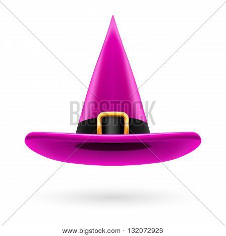 Magenta witch hat with golden buckle and hatband