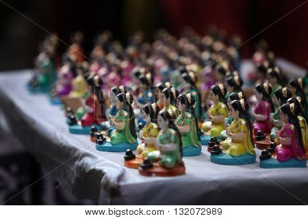 Indian Goddess idols for sale during a hindu festival in India.