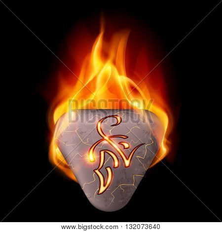 Trigonal stone with magic rune in orange flame