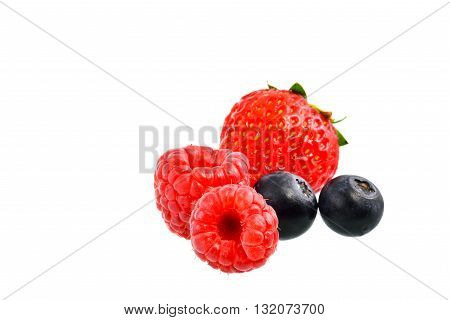 Mix berry and strawberry on white background with clipping path