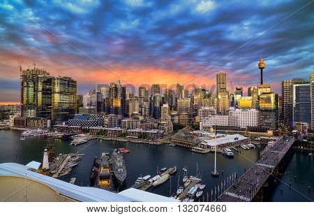 SYDNEY AUSTRALIA - augus, 5, 2016 : Sunset at Darling Harbour adjacent to the city center of Sydney and also a recreational place in Sydney central business district