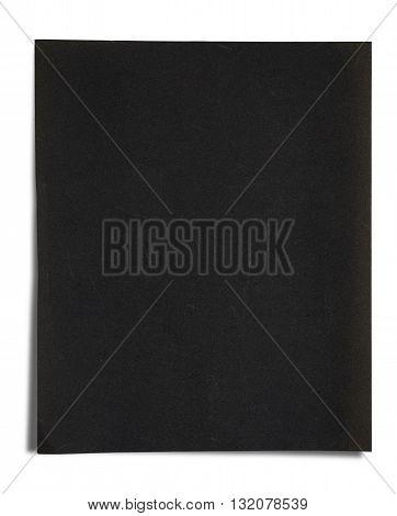 Black sandpaper texture, isolated on white background