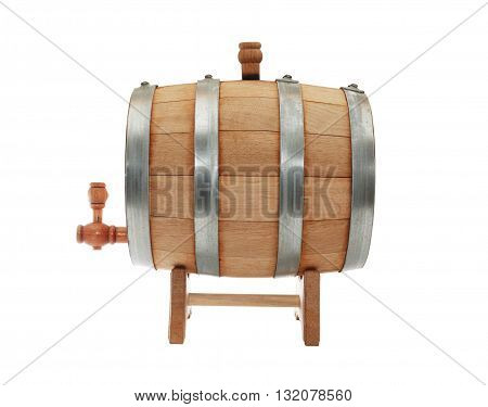 Nice oak barrel with faucet on white background. Isolated with clipping path