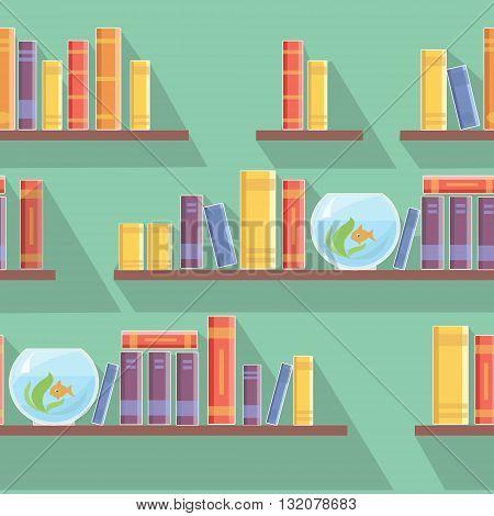 vector seamless pattern bookshelves, books or bookshop