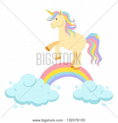 Unicorn ride on rainbow and clouds magic vector set. Unicorn is riding. Cute unicorn cartoon illustration. Unicorns, rainbows and clouds for birthday greeting card. Cute child poster
