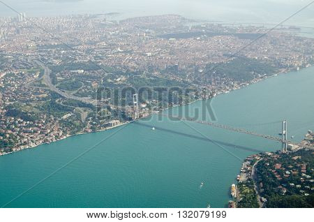 Aerial view of the First Bosphorus Bridge spanning the Bosphorus in Istanbul Turkey. The suspension bridge known in Turkish as Boğaziçi Köprüsü links Ortaköy in Europe and Beylerbeyi in Asia.