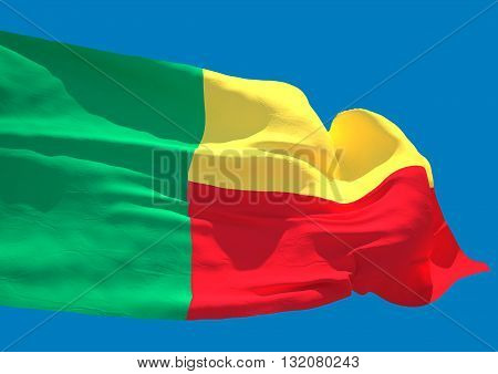 Benin wave flag HD Republic of Benin