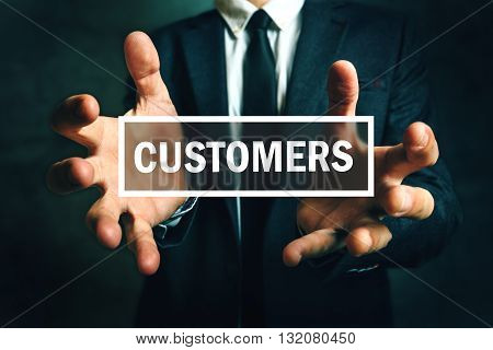 Business strategy to keep customers with businessman in elegant suit
