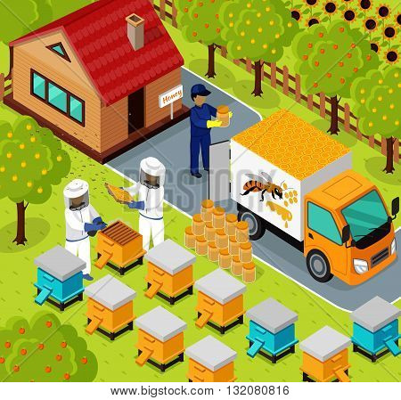 Isometric honey bee apiary with beekeeper design flat. 3D Beekeeping work, sweet honey, farm natural honey, 3d beekeeper collect eco honey, bee fly for honey on apiary, beemaster job, collect honey