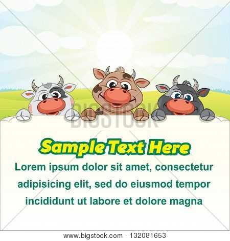 Dairy Farm Illustration. Funny Cows with Empty Sign. Cartoon Farm Animals. Ready for Your Text and Design.
