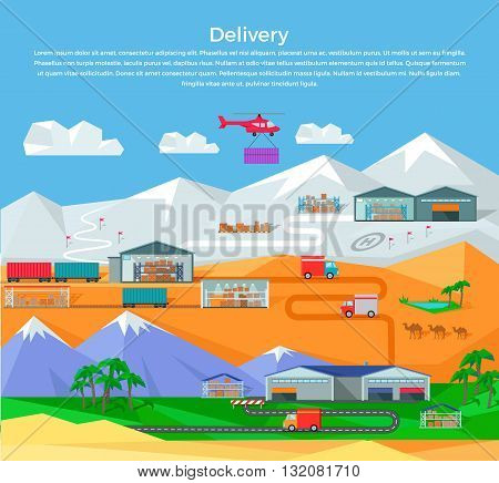 Worldwide warehouse design flat. Logistics container shipping and distribution. Transportation by water in the mountains in the desert and in the snow. Loading and unloading boxes. Vector illustration