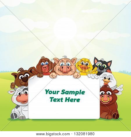 Funny Farm Animals, Pets on Green Lawn Meadow. Cartoon Template. Vector Image Ready for Your Text and Design.