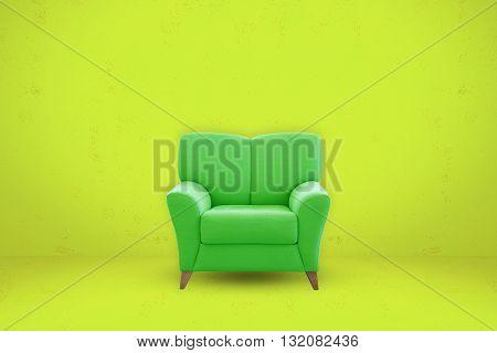 Green sofa seat on green room background. Modern sofa seat.