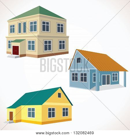 Set of 3D Vector Buildings. Image Ready for Your Text and Design.