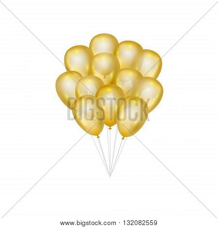 Balloons on white background. Vector elements for greeting cards. Gold bunch of balloons isolated. 3d design.