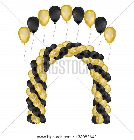Balloons on white background. Vector set for greeting cards. Arch of balloons isolated. Gold and black balloons. 3d design.