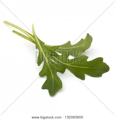 Sweet rucola salad or rocket lettuce leaves isolated on white background