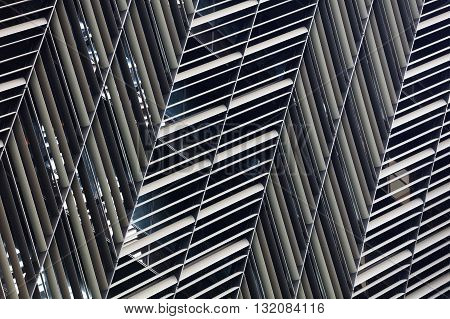 Abstract close-up view of modern aluminum ventilated facade grid