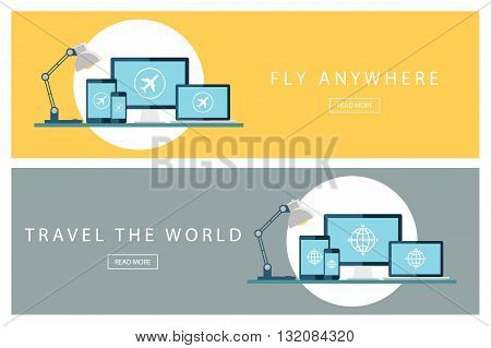 Set of flat design travel concepts. Travel the world and Fly anywhere. Banners for web design, marketing and promotion. Presentation templates. Vector illustration.