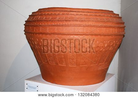 MALAGA, SPAIN - JULY 11, 2008 - Museum exhibit of a large pot with a stamped design Nasrid Palace Malaga Castle (Alcazaba de Malaga) Malaga Malaga Province Andalucia Spain Western Europe, July 11, 2008.