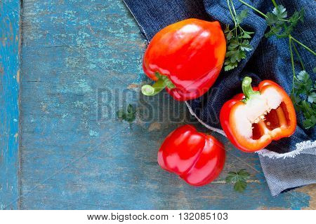 Fresh Organic Sweet Pepper On The Wooden Table, Top View. Space For Your Text.
