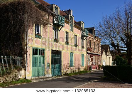 Giverny France - february 29 2016 : the old Baudy hotel in winter