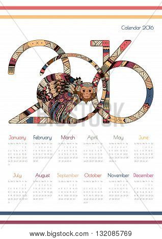 Calendar for 2016 with a fiery monkey. Zentangl monkeys with figures. Week starts on Sunday