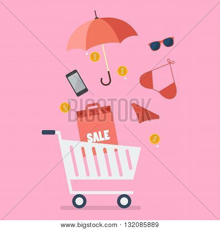 Add women clothing and accessories into cart. Shopping concept