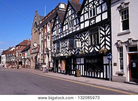 LICHFIELD, UK - JULY 14, 1993 - Tudor Cafe and Guildhall along Bore Street Lichfield Staffordshire England UK Western Europe, July 14, 1993.