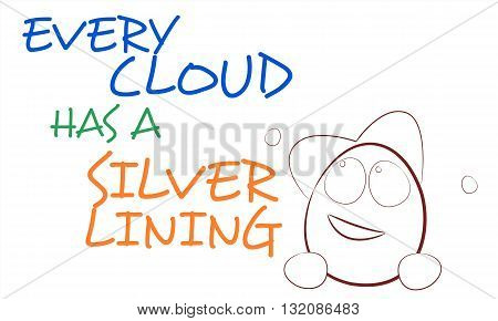 English proverb with cartoon face on white background