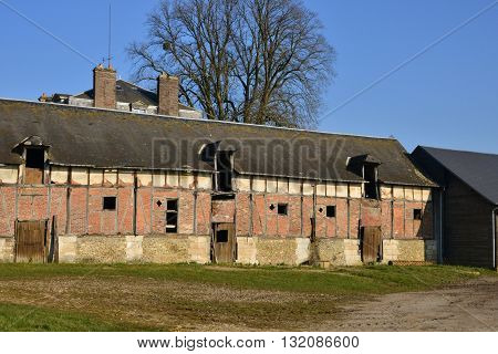 Ecouis France - march 15 2016 : the ruin of an old farm