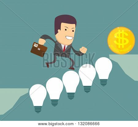Man on the Lightbulbs Bridge. Vector illustration .
