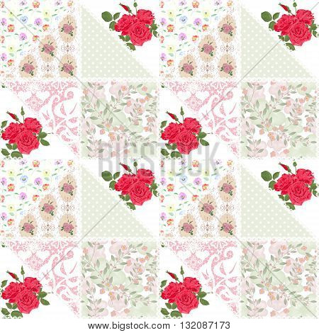 Patchwork floral roses pattern print with lace decorative elements quilting