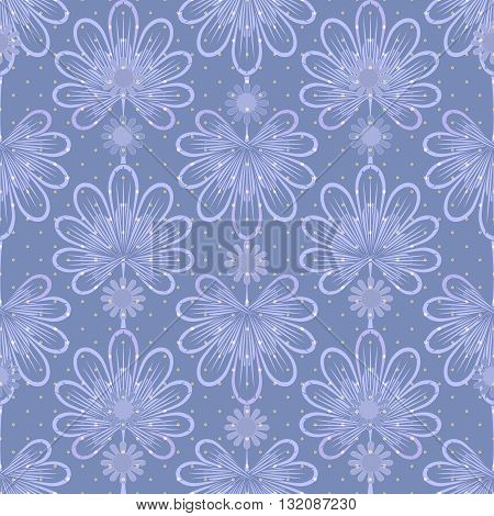Seamless blue pattern graphic ornament. Floral stylish background repeating texture with stylized leaves