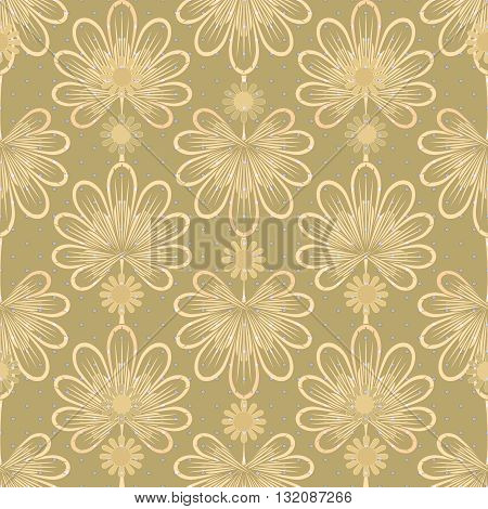 Seamless brown pattern graphic ornament. Floral stylish background repeating texture with stylized leaves
