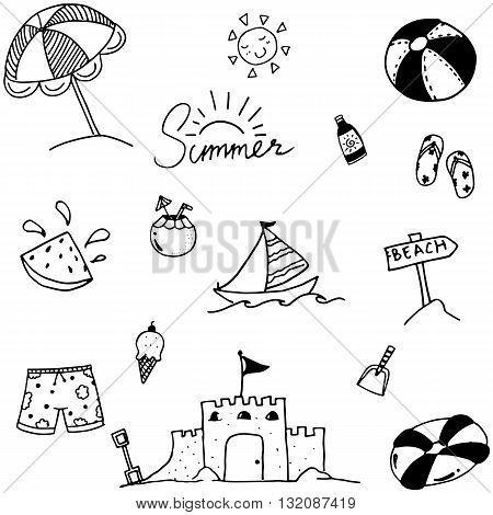 Summer vector art doodle black and white