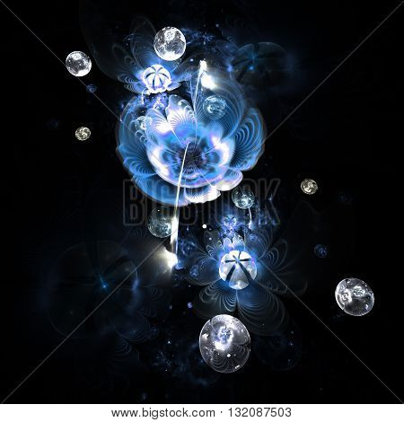 Abstract colorful blue flowers with silver drops on black background. Fantasy fractal design for postcards or t-shirts.
